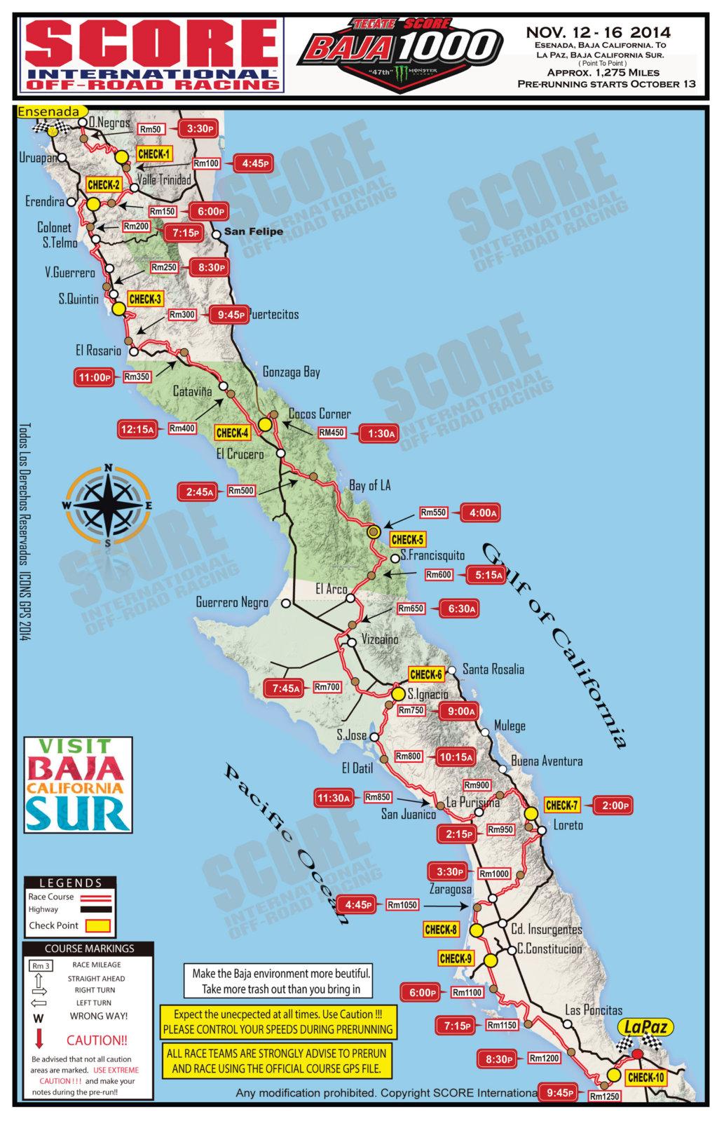 Baja 1000 Map 2014 Baja 1000 UTV time map | race deZert