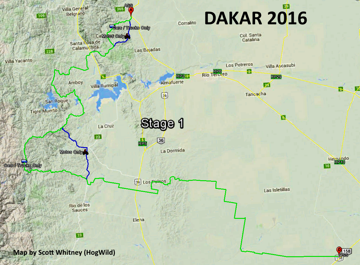 Stage 1 Map - Dakar 2016 - HogWild.png